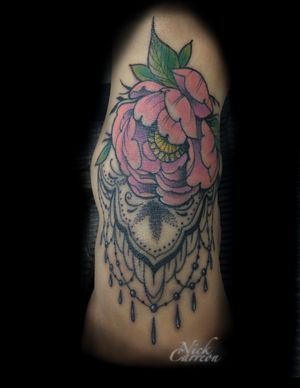 Ankle to the top of the foot this peonie design sits as decoration