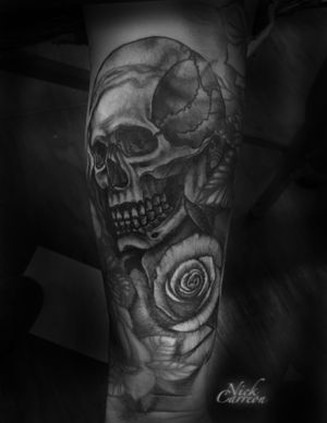 Skull and rose to fill a gap in this sleeve.