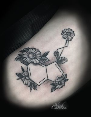 Flowers are always fun and make great additions like with this Serotonin symbol redesign