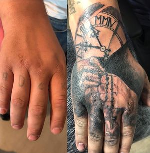 Hand cover black praying piece first session done more blackfilling and more détails on pearl and cross will be add art the final session