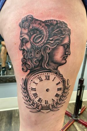 Janus the god of past and present done in a stipulated style