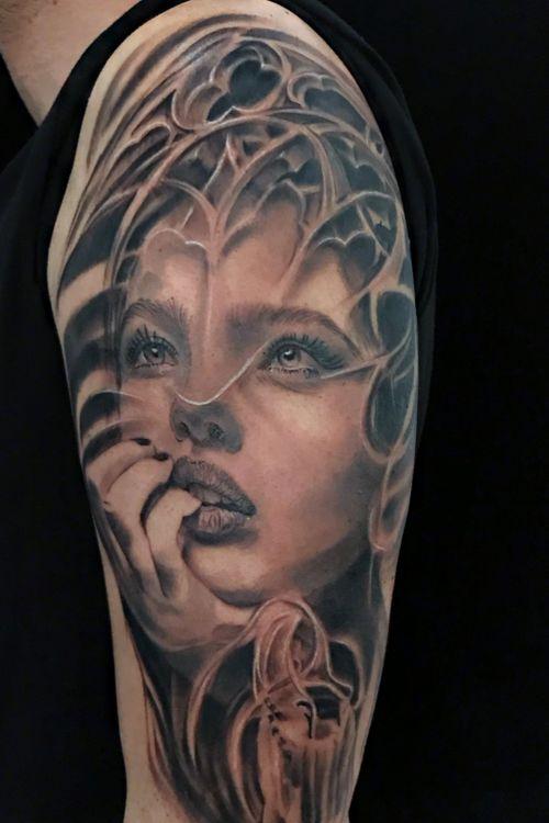 Surreal girl . Tattoo Canary Islands Tenerife , Carlos Art Tattoo