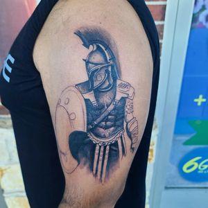#gladiator #wip #startofsleeve #spartian #tattoo #cooltattoos #fortworthartist #texastattoos