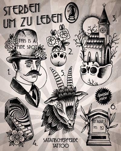 new flashset by satanischepferde - available as tattoo #flashset #traditional #black #blackwork #dark #occult #death #darkart #goat #church #grave #coffin #skull #gentleman #peony #chrysanthemum
