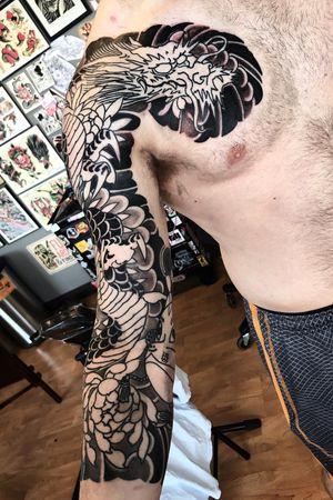 Japanese sleeve in progress