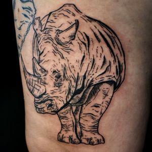 Blackwork illustrative Rhino, by Adam McDade.