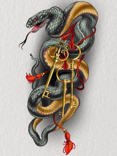 #montreal #mtl #snake #keys #quebec #canada #neotrad #illustrative