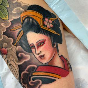 Geisha part of a thigh sleeve #geisha #geishatattoo #japanesetattoo #girlhead