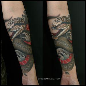 Tradicional Japanese Snake on inside of forearm. #tattoo #tattoos #snaketattoo #japanesetattoo