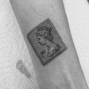 40mm 1st Class stamp, micro tattoo, 1rl😊