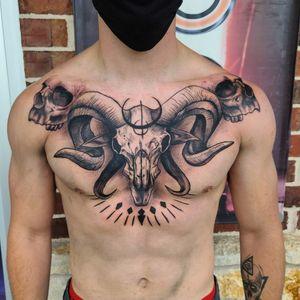 #tattoo #cooltattoos #fortworthartist #texastattoos #blackandgreytattoo #skull #goatskull #fullchest #blackworktattoo
