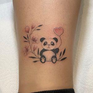 Cute panda with fine line florals
