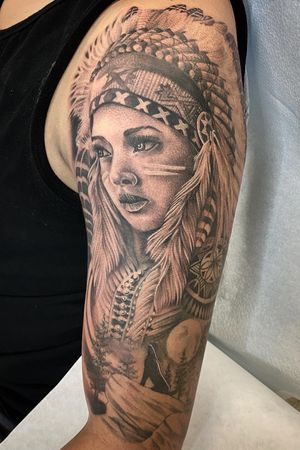 Native American half sleeve for a first timer. Looking to do more liner stipple shaded pieces. #peaces #blackandgrey #nativetattoo #girlportrait #dankubin #v7 #empireinks #dynamicink #tattoolovers #tattooloverscare #ttechcartridges #bng #stipple #3rl #bless #hustle
