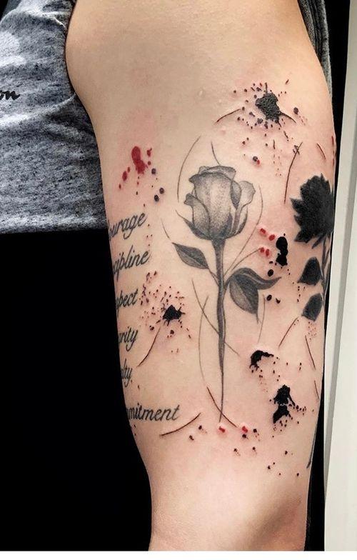 #floraltattoo #rosetattoo #inksplattertattoo #colourtattoo