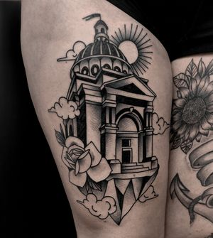 House in the sky by satanischepferde #traditional #dark #blackwork #black #blacktraditional #blackandgrey #boldlines #bold #oldschool #traditionaltattoo #occult