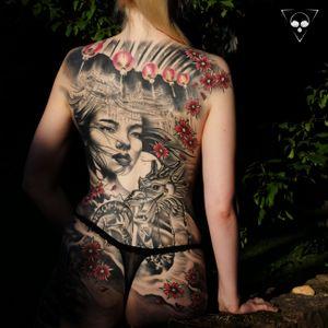 fully healed backpiece #frankfurt #backpiece #germany #healed #dragon #geisha #lamps #lights #flowers #michaellitovkin