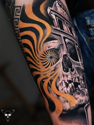 another sleeve in progress - influenced by the heritage of the client #frankfurt #germany #skull #abstract  #rome #colosseum #realism #yellow