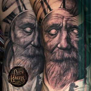 Father Time Tattoo done at Double Diamond Tattoos in West Chester