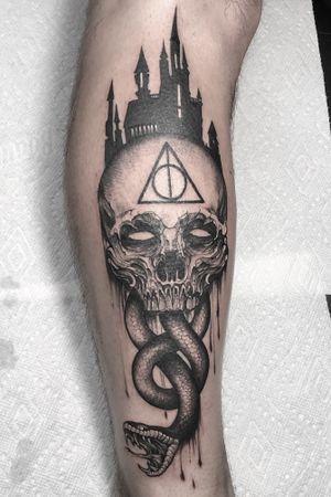 Custom harry potter leg tattoo