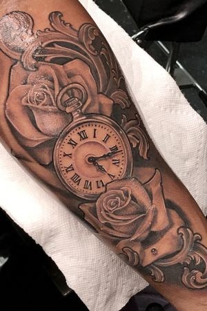 Black and gray style roses and time piece