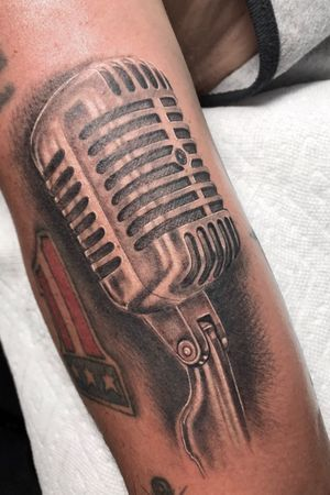 Classic black and gray microphone