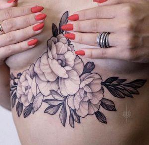 Underboobs tattoo by Zozulenko #Zozulenko Full day session tattoo with flowers! #flowers #underboob