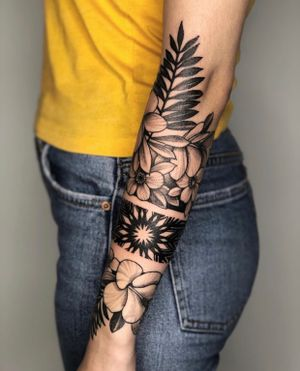 Full forearm flowers tattoo with bracelet! 2 full day session! #flowers #ink
