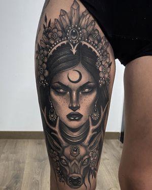 Nature goddess babe tattoo portrait 🌿 dm