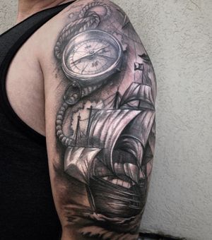 Nautical sleeve completed aug 2020 at anthem tattoo in Sherwood park
