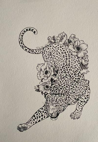 #leopard#animal#flowers
