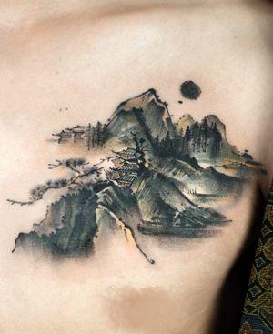 Cover up, Ati tattoo styel Oriental brush,