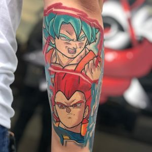 SSGB Kaioken Goku & SSG Vegeta • • Anybody else remember how hype everyone was when Vegeta turn SS God on the big screen? • • Pretty sure I was just as hype when Marc told me to design this piece as a large gap filler to his continued sleeve. • • Email me with more large scale DBZ/DBS tattoos. Thanks for looking! • • #eazy407 #eazyfeliciano #kissimmee #orlando #centralflorida #floridatattooartist #floridaartist #dbz #dbs #dragonballz #dragonballsuper #ssgvegeta #ssgbgoku #goku #vegeta #saiyan #anime #manga #tattoo #colortattoo #supersaiyangod #funimation #seanschemmel #christophersabat