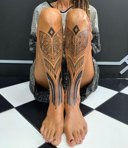 Shipibo inspired tribal warrior leg piece