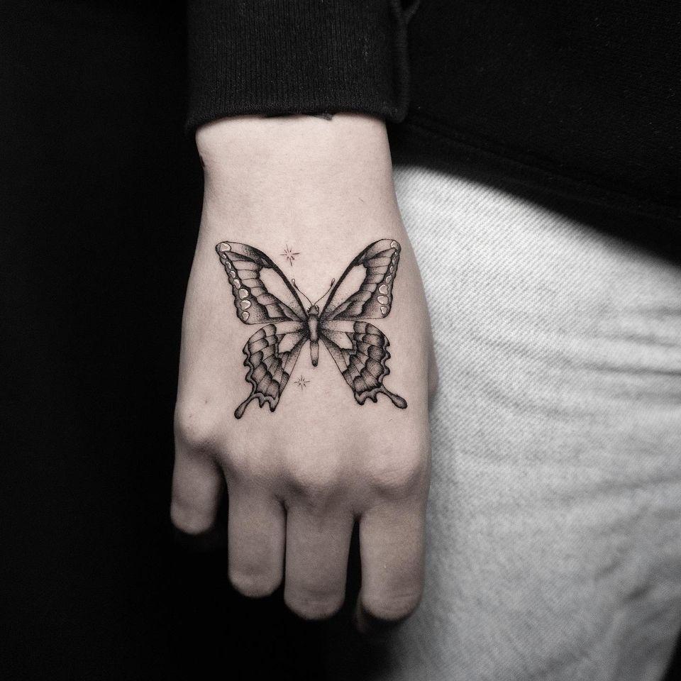 Tattoo by Deven Brodersen #DevenBrodersen #illustrative #fineline #singleneedle #butterfly #handtattoo