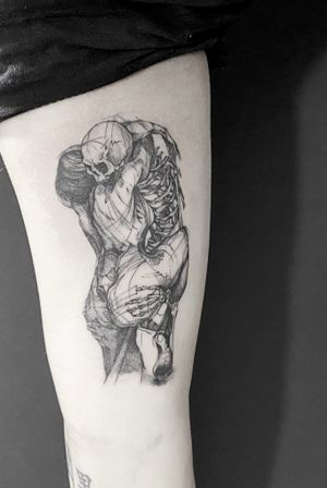 #skeleton#womentattoo#hug#blackandgray#sketch#nyctattoo