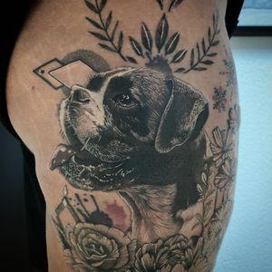 #tattoo #tatouage #animal #animaltattoo #dog #dogtattoo #realistictattoo #realisticink #realism #realismtattoo #flower #flowertattoo #lausanne #tattoolausanne #lausannetattoo #fann_ink