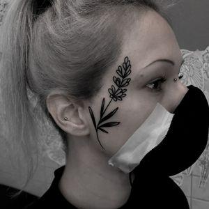 Lavender facetattoo by satanischepferde #erfurt #lavender #plant #flowertattoo  #traditionaltattoo #smalltattoo #blackandgrey #facetattoo
