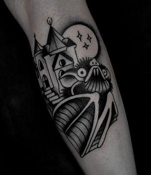 Bat with castle traditional tattoo by satanischepferde #bat #castle #scary #halloween #dark #traditionaltattoo #blackwork #darkart