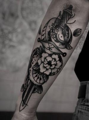 Snake and sword classic tattoo by satanischepferde #oldschool #classic #peony #dagger #sword #snake #viper #armtattoo #dark #black #ink #blackwork #traditionaltattoo #blackandgrey