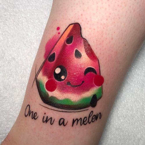 #watermelon #watermelontattoo #melontattoo #kibitattoo #kawaii #cutetattoo #anime #manga #colourtattoo #supercute #cloto.tattoos