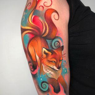Fox tattoo by Cloto Acherontia aka cloto tattoos #clotoacherontia #clototattoos #fox #foxtattoo #kitsune #kitsunetattoo #japanese #anime #manga #mangatattoo #colourtattoo #inked #londontattoo #cloto.tattoos