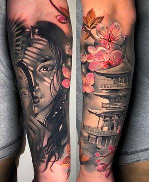 #japanesetattoo #geisha #pagoda #cherryblossoms #tattooed #londontattoo #cloto.tattoos #blackandgrey #semirealism #intenzetattoo #killerink #cherryblossomtattoo #japan #japanese #illustration #healedtattoo #cloto.tattoos