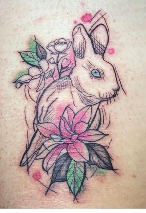 Sketchy style Rabbit tattoo #rabbittattoo #animaltattoo #sketchytattoo