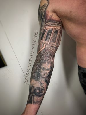Full sleeve with Medusa and Greek library.