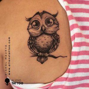 Owl Tattoo by Vishal Maurya at Aliens Tattoo India