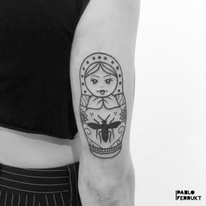 Russian doll!! Thanks so much Giorgia!  For appointments write me a DM or an email to pabloferrukt@icloud.com Done at @amikatattoo  #blackworktattoo . . . . #tattoo #tattoos #tat #ink #inked #tattooed #tattoist #art #design #instaart #geometrictattoos #blackworktattoos #tatted #instatattoo #bodyart #tatts #tats #amazingink #tattedup #inkedup #berlin #berlintattoo #traditionaltattoos #blackworkers #berlintattoos #black #schwarz  #tattooberlin #oldschooltattoo