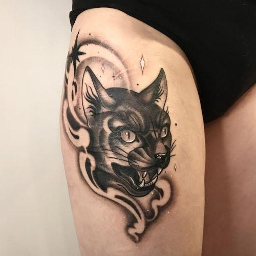 Cat tattoo by Alena Dick #AlenaDick #cat #neotraditional #smoke #star #blackwork #animal #nature