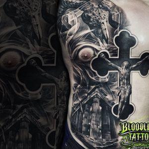 Jesus, Greek Architecture & Ram Skull Half Front Torso