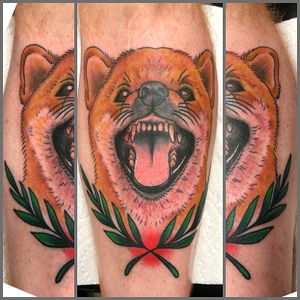 Shiba tattoo. Is he smiling? Laughing? Sneezing? Growling? You decide...