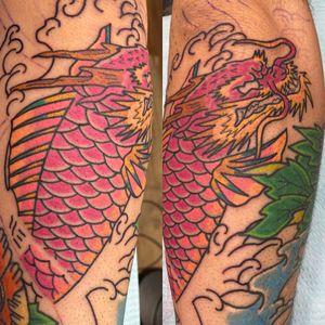 Sherbet inspired Dragon Koi. Part of a full sleeve in progress